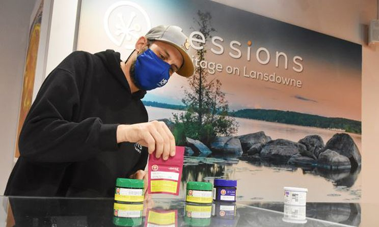 man working at a cannabis store