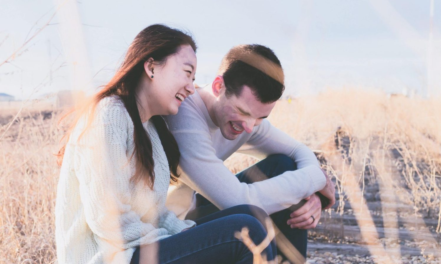 two people laughing