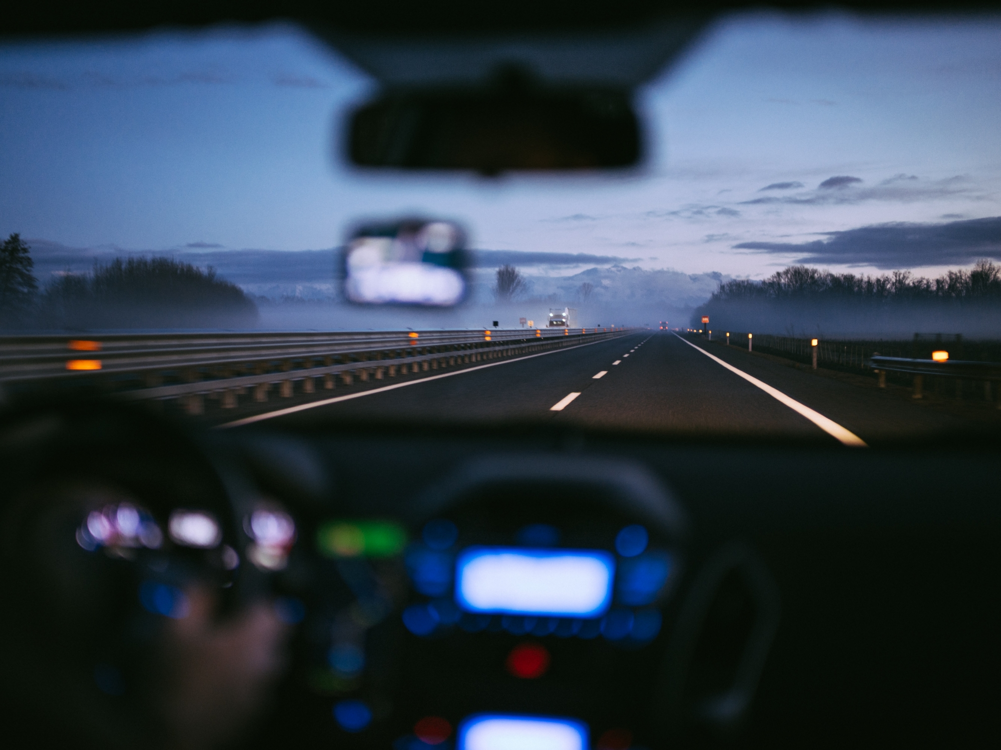driving down road